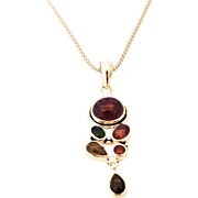 SALE Handmade Natural Watermelon Rubellite Pink Tourmaline Necklace in Sterling Silver