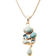 SALE Handmade Natural Larimar and Blue Topaz Necklace in Sterling Silver