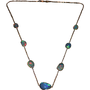 SALE 14kt Gold 10CT Natural Ethiopian Opal Rosecut Slice Handmade Bezel Set Necklace