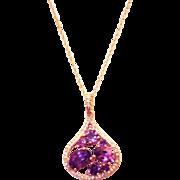 SALE Unique Amethyst and Diamonds Pendant 14KT Rose Gold