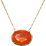 SALE 18kt Gold 30CT Natural Mexican Fire Opal and Diamond Handmade Necklace