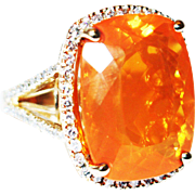 SALE 21CT Natural Mexican Fire Opal and Diamond Ring in 18KT Yellow Gold