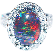 SALE Natural Solid Black Opal and Diamond Ring in 18KT White Gold
