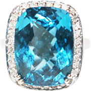 SALE 16 CT Natural Swiss Blue Topaz and Diamond Ring in 14KT White Gold