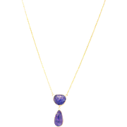 SALE Natural Tanzanite Rose Cut Necklace in 14KT Yellow Gold