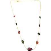 SALE 20CT Natural Rubellite and Watermelon Tourmaline Bezel Set 14KT Gold  Necklace
