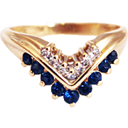 SALE Most Gorgeous Unique Stackable Natural Blue Sapphire Diamond Ring 14KT Yellow Gold
