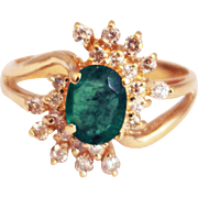 SALE 1.25 CT Natural Colombian Emerald and Diamond 14KT Yellow Gold Ring