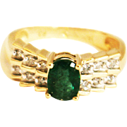 SALE 1CT Natural Colombian Emerald and Diamond 14KT Yellow Gold Ring
