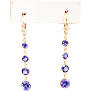 SALE 6CT Natural Tanzanite and Diamonds Line Earrings in 14KT Gold