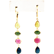 SALE 10.5CT Natural Watermelon Yellow, Green, Pink and Blue Rose Cut Tourmaline Earrings 18KT