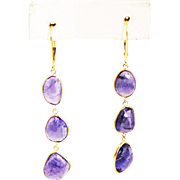 SALE 21CT Natural Rose Cut Asymmetrical Tanzanite Earrings in 18KT Gold