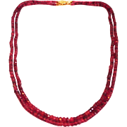 SALE 110 CT Double Stranded Natural Rubellite Pink Tourmaline Necklace Diamond 14KT Gold