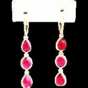 SALE 8.5CT Natural Rubelite Rose Cut Tourmaline Earrings 18KT Gold