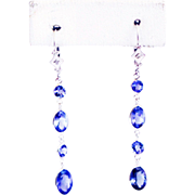 SALE 8.5CT Natural Tanzanite and Diamonds Line Earrings in 14KT White Gold