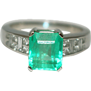 SALE Natural Colombian Emerald and Diamond Ring in Platinum