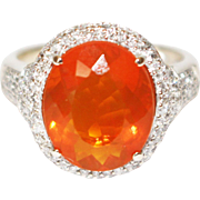 SALE 6CT Natural Mexican Fire Opal and Diamond Ring in 14KT Yellow Gold