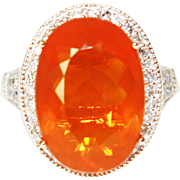 SALE 9.5CT Natural Mexican Fire Opal and Diamond Ring in 14KT Yellow Gold