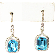 SALE Natural Diamond and 6CT Swiss Blue Topaz Earrings 14KT White Gold