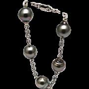SALE 12mm Baroque Cultured Tahitian Pearls Bracelet 14KT White Gold