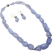 SALE Natural Blue Chalcedony Diamond Necklace & Earrings Set in 14KT White Gold