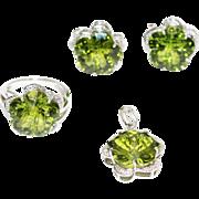SALE Custom Cut Flower Green Quartz Diamond Ring, Pendant & Earrings Set in 14KT White Gold