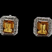SALE Gorgeous Golden Emerald Cut Citrine Diamond Ring & Earrings Set in 14KT White Gold