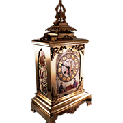 SALE 19th Century Polished Bronze French Clock with Porcelain panels in Japanese style