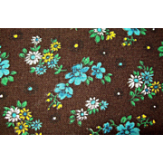 REAL VINTAGE Soft Brushed Chocolate Cotton Lt Weight Broadcloth Fabric with Blue Yellow Flower