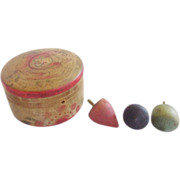 SALE Set of 3 Miniature Fruit Shaped Tops in Hand Painted Round Box