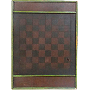 SOLD Antique Early 1900's Hand Made Folk Art Checkers Game Board With Apple Green Frame