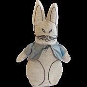 "SALE Vintage 14"" Primitive Hand Made Folk Art Rabbit Stuffed Toy"