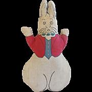 "SALE Vintage Folk Art ""Startled"" Bunny Rabbit Stuffed Toy"