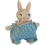 SALE Vintage 1950's Hand Made Folk Art Bunny Rabbit Stuffed Toy Wearing Kitten Print ...