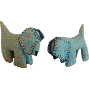 SALE Pair of Vintage PA. Hand Made Folk Art Dog Whimsies/Pin Cushions