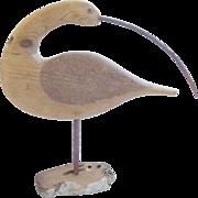 SALE Vintage MId 20th Century Primitive Folk Art Curlew Shorebird Flatty Decoy