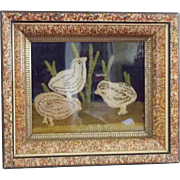 SALE Early 1900's Framed Folk Art Hooked Picture of 3 Baby Chicks