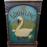 """SALE Vintage Folk Art """"The Whistling Swan"""" Trade Sign"""