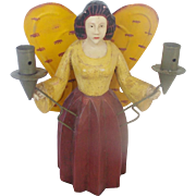 SOLD Wood Hand Carved & Painted Folk Art Angel With Tin Wings Candle Holder - Red Tag Sale Ite