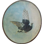 SOLD Late 19th C. Victorian Folk Art Black & White Dove Painting in Wood Dough Bowl