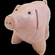 SALE Rare Late 19th C. Primitive SE PA. Folk Art Painted Canvas Pig Toy