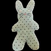 C.1920's-30's Primitive Hand Made Folk Art Polka-Dot Bunny Stuffed Toy