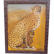 SALE Folk Self Taught Outsider Art Painting of Mother Cheetah & Cub