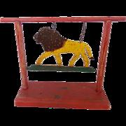 SALE Vintage Folk Art Painted Swinging Lion Carnival Target