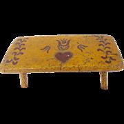 SALE Vintage Primitive Folk Art Chrome Yellow Footstool with PA. Dutch Decoration