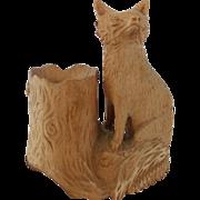 SALE Late 19th C. Hand Carved Folk Art Fox & Tree Inkwell