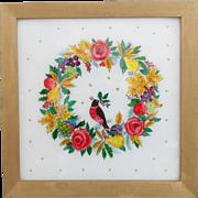 SALE Vintage Folk Art Reverse Painted Tinsel Painting of Wreath & Partridge