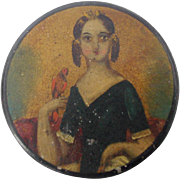 19th C. American Folk Art Tiny Round Box W/Folk Portrait of Young Woman & Bird
