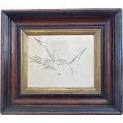 19th C. Folk Art Spencerian Calligraphy Drawing of Eagle in Antique Frame