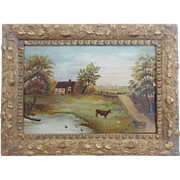 SALE Early 1900's Folk Art Oil Painting of Farm Scene With Cows, Sheep, Ducks